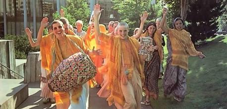 ISKCON Devotees Celebrate after Favorable Court Decision. Los Angeles 1975.