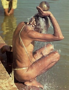 Devotee takes bath in Yamuna River, Vrindvan 1975.
