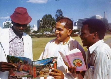 ISKCON Book Distributor at University of Nairobi, Kenya, Africa. 1975.