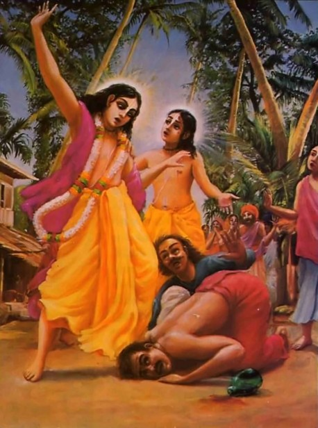 Lord Caitanya Delivering the Drunken Brothers Jagai and Madhi