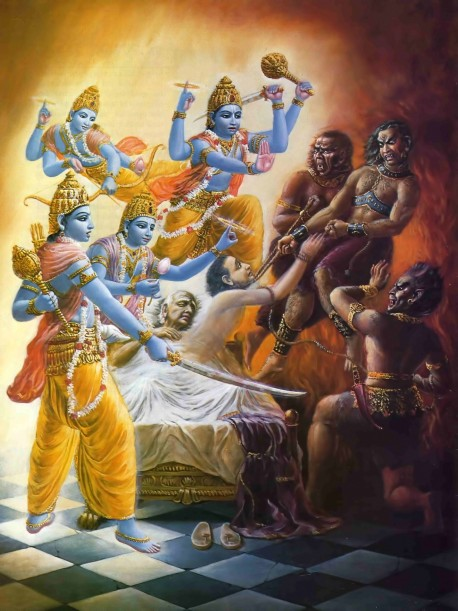 As the Visnudutas arrived, the Yamadutas were snatching the soul from the body of the dying Ajamila.