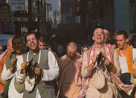 Members of the International Society for Krishna Consciousness Chanting the Hare Krishna Mantra· in Downtown Detroit. 1976.