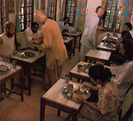Krishna Balaram Temple ISKCON Vrindavan Vegetarian Restaurant. 1976.