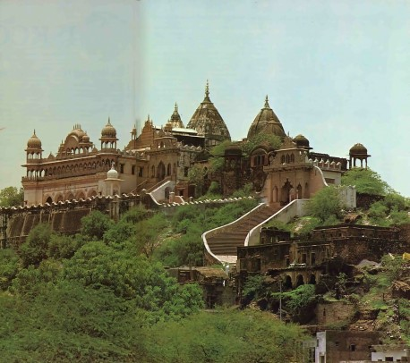 The splendor of spiritual India: Barsana, where Krishna's beloved Radharani was born.  1976.