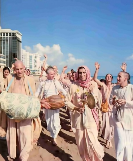 Hare Krishna Devotees Chant on the Beach at Miami, Florida, 1976.