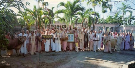 Devotees at the Miami center of the International Society for Krishna Consciousness. 1976.