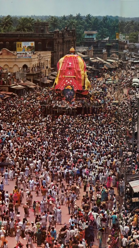 "Like a king on a pleasure excursion, Lord Jagannatha goes out for a ride every summer in one of India's biggest religious festivals—Ratha-yatra (""The Festival of the Chariots"")."