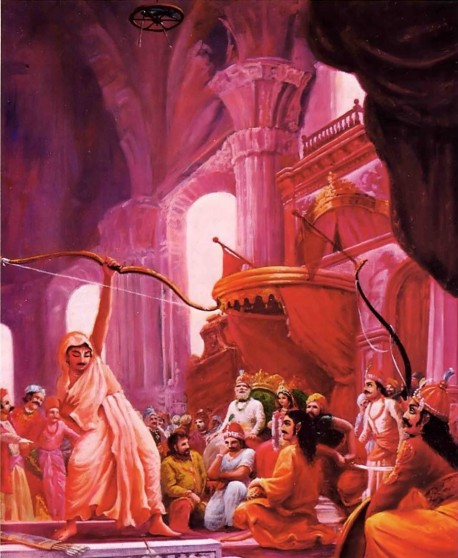 Arjuna shooting the fish without looking at it to win Draupadi as his wife.