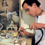 Hare Krishna devotee making jewelery for Radha Krishna deities. 1976.