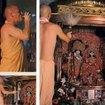 Pujari offers Aroti to Radha Krishna Deities in ISKCON Temple. 1976.