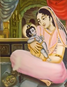 Baby Krishna in the lap of His mother.