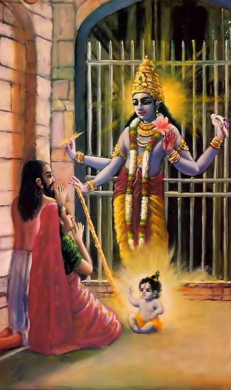 Krishna appears as four-handed Visnu in the prison of King Kamsa.