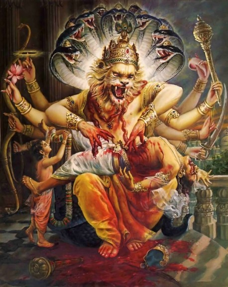Lord Nrsimhadeva, half man, half lion, kills the demon Hiranyakasipu by tearing out his intestines.