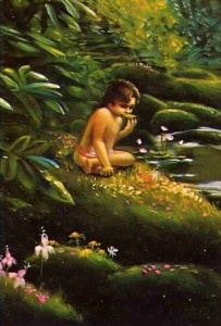 Dhruva meditated on the Lord and ate only grass and leaves every sixth day.