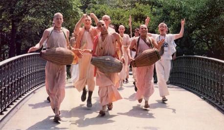 Devotees chanting Hare Krishna in New York's Central Park.