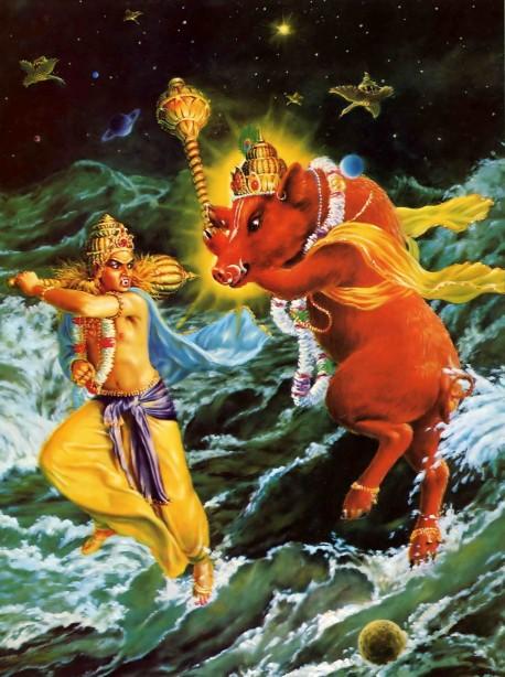Lord Varaha attacks Hiranyaksa