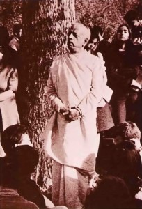 Srila Prabhupada in Tompkins Square Park, New York City, 1966.