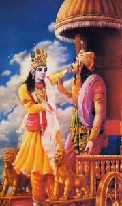 Krishna speaks Bhagavad Gita to Arjuna