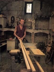 Bhavasindhu-pota constructs new farm buildings at ISKCON's New Mayapur Farm in France. 1976.