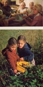 The children like to help out by shelling peas and picking blackberries. New Mayapur 1976.