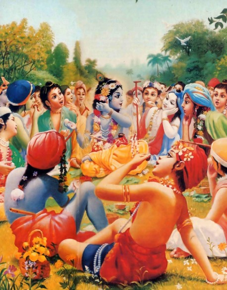 Krishna and His Cowherd Boyfriends Eating Lunch.