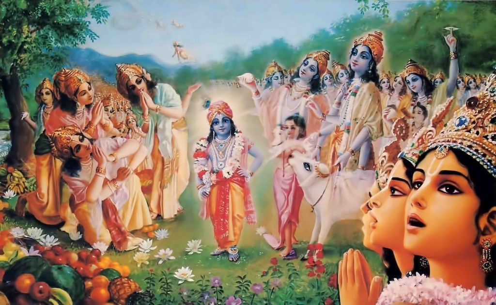 Krishna took compassion on Brahma, whose mind was reeling: He would change things back to the way they'd been before.
