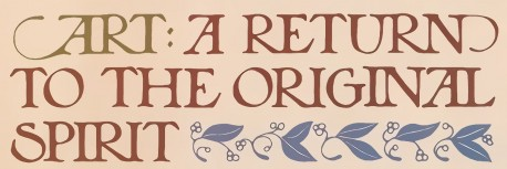Art: A return to the original spirit