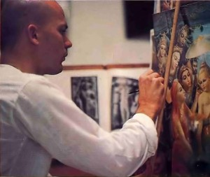 """Bottom: Douglas Ball (Pariksit dasa) puts finishing touches on his composition """"The Appearance of Vamana."""""""