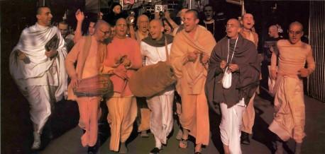 ISKCON Devotees Chanting Hare Krishna. Amsterdam, Holland, 1977.