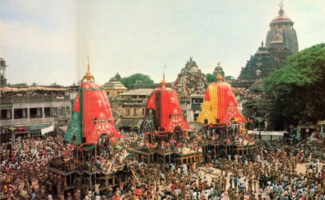 In Puri, India, the chariots of Lord Jagannatha, Lady Subhadra, and Lord Balarama are ready to roll. 1977.