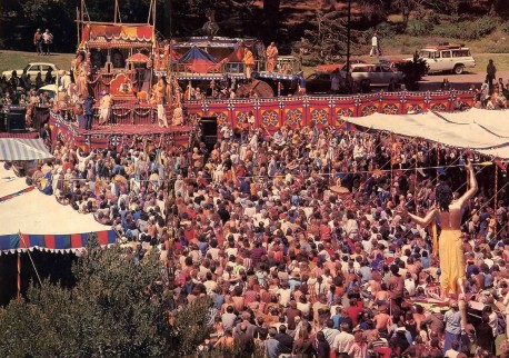 Srila Prabhupada speaks from the dais, and thousands listen - Golden Gate Park's Lindley Meadow 1977