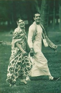 "Jubilant newlywed s Megha-devi dasi and Ekesvara dasa enjoy a walk at ISKCON's 15-acre Potomac, Maryland, farm after her escape from ""deprogrammers."" - 1977"