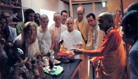 Prabhupada tours the F.A.T.E. diorama making studios, ISKCON Los Angeles - 1976