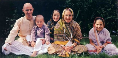 Dvarakanatha dasa, Hare Krishna school teacher, with family - 1977