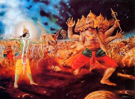 Lord Ramacandra shot an arrow that pierced Ravana's heart like a thunderbolt.
