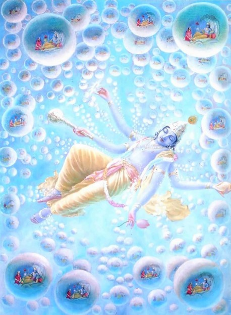Here we see the process of creation: God in His form as Maha-Visnu exhales billions of universes from His transcendental body.