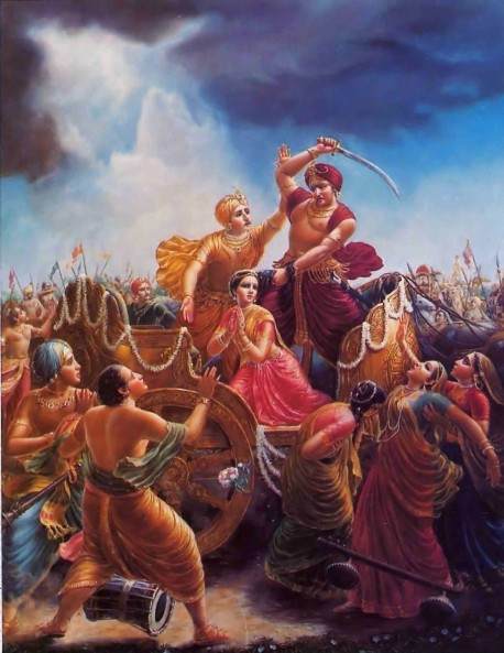 On hearing that the eighth child of his sister, Devaki would kill him, Kamsa was about to kill her. But Devaki's husband Vasudeva pacified Kamsa.