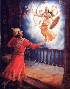 After Krishna's birth, Kamsa tried to kill Krishna's younger sister Yoga maya, but she rose to the sky in her eight-armed form.