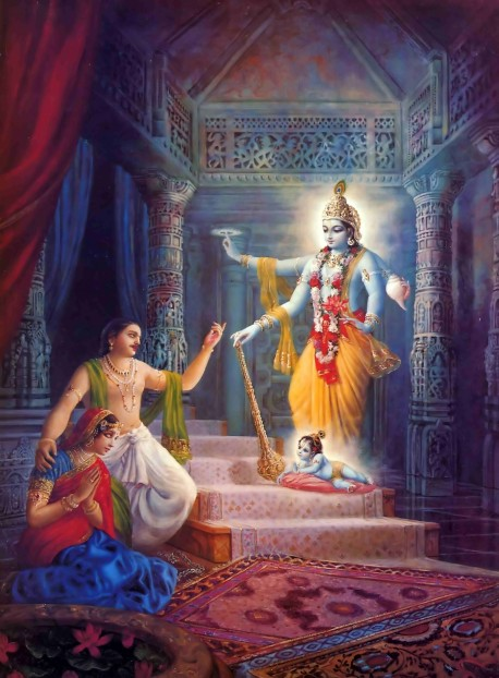 When Lord Krishna finally appeared within Kamsa's prisonhouse, He reassured His parent's by showing them His four-armed form; then He appeared as an ordinary child.