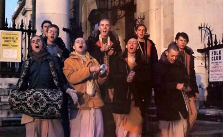 ISKCON Devotees Chant Hare Krishna In London. 1977.