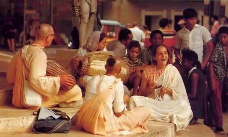 Hare Krishna Devotees chanting bhajans - 1977