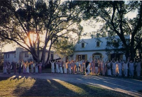 ISKCON Devotees outside Hare Krishna Temple in Gainsville, Florida - 1977