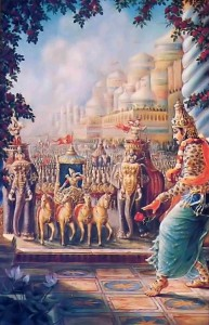 Earlier, when King Bali and his vast army had stormed the heavenly kingdom, lndra and the other demigods were overwhelmed.