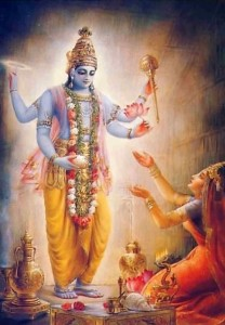 Lord Vamana appears first in His Four-Handed Visnu Form.