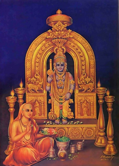 Madhvacarya worshiping the Krishna Deity that he found within a lump of clay.