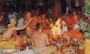 Traditional fire sacrifice: Yasodinandana Swami (second from left) leads a sacrifice inaugurating the Fiji temple.