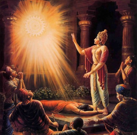 Very much harassed by the Sudarsana disc, the yogi Durvasa Muni retraced his flight back to earth. Upon reaching King Ambarisa's palace, he quickly entered the main hall, fell down, and clasped the king's lotus feet.