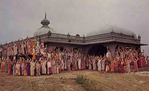 ISKCON Devotees standing outside Prabhupada's Palace, New Vrindavan, Moundsville, West Virginia