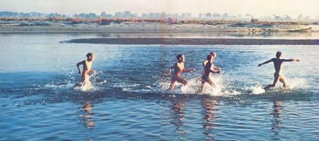 ISKCON Vrindavan Gurukula Boys Running in Yamuna River 1977