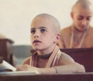Bright-eyed Dhiroddhatta dasa says he and his parents came to the Krishna consciousness movement when he was three. He was one of the Gurukula's first students.